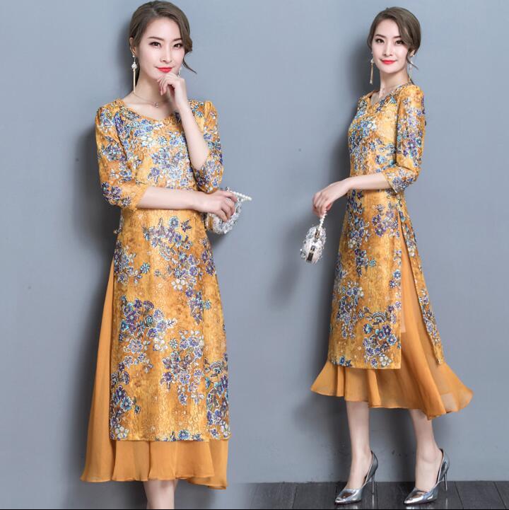 2018 nouveau style bleu ao dai moderne chinois traditionnel robe vintage qipao femmes cheongsams robe pour la fête