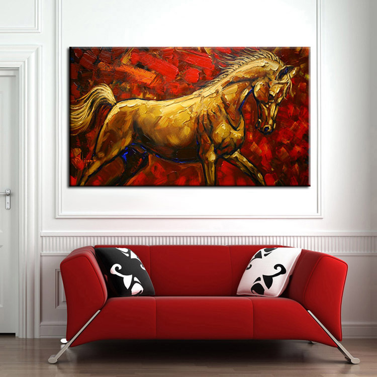 Red Background Golden Horse Oil Painting On Canvas For Living Room Rhaliexpress: Horse Paintings For Living Room At Home Improvement Advice