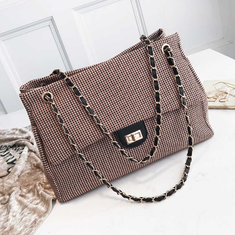 555c59f6dd02 Шерсть клетчатая сумка Мода цепи сумки роскошные Брендовые женские из кожи,  из шерсти сумки алмаз