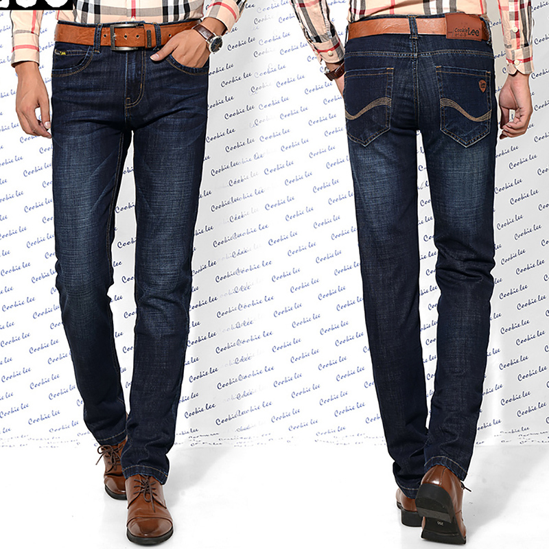 Men s straight jeans 3D high quality three dimensional cut denim elastic fabric blue business style