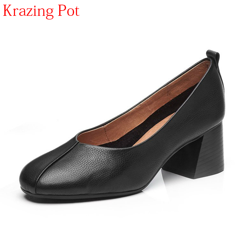 2018 New Fashion Genuine Leather High Street Fashion Square Toe Grandma Shoes High Heels Elegant Classic Mature Women Pumps L08 the new puma womens shoes classic high classic star high tongue series white leather laser badminton shoes