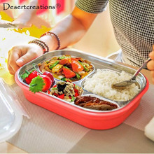 Kids Lunch Tray Dishs Boxs Stainless Steel Children Tableware Lunchbox Portable Picnic Food Fruit Storage Container Dinnerware
