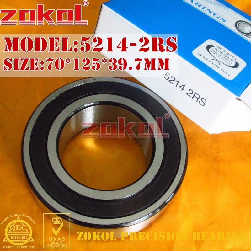 ZOKOL bearing 5214 2RS 3214 2RZ (3056214) Axial Angular Contact Ball Bearing 70*125*39.7mm rebir rz 2 70 2
