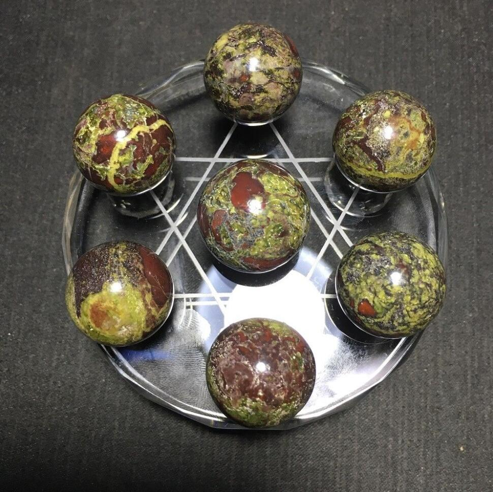 Natural dragon blood stone ball with plate quartz crystal Seven star array
