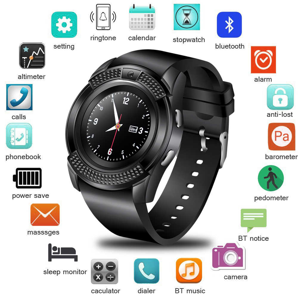 WISHDOIT New Smart Digital Watch Information Vibration Reminder Sport Pedometer Clock LED Color Screen Bluetooth Smart Watch Men