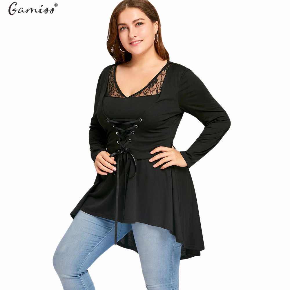 277dacc1650 Gamiss Women Spring Autumn T-Shirts Long Sleeves Plus Size Lace Up High Low  Tops