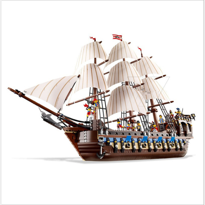 lepin 22001 Pirates of the Caribbean Ship Imperial Warships Model Building Kits Block Briks Toys Gift 1717pcs Compatible 10210 lepin 22001 pirates series the imperial war ship model building kits blocks bricks toys gifts for kids 1717pcs compatible 10210
