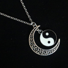 Enamel Tai Chi Gossip YIN YANG & Crescent Moon Necklaces Design Pendant Necklace For Women Choker Collier Wicca Pagan Gothic