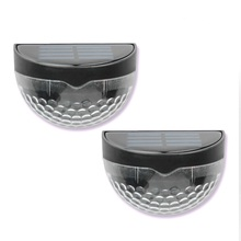 2Pcs Solar Light 6LED Energy Wall Lamp Outdoor Led Semicircle Fence Garden Lawn
