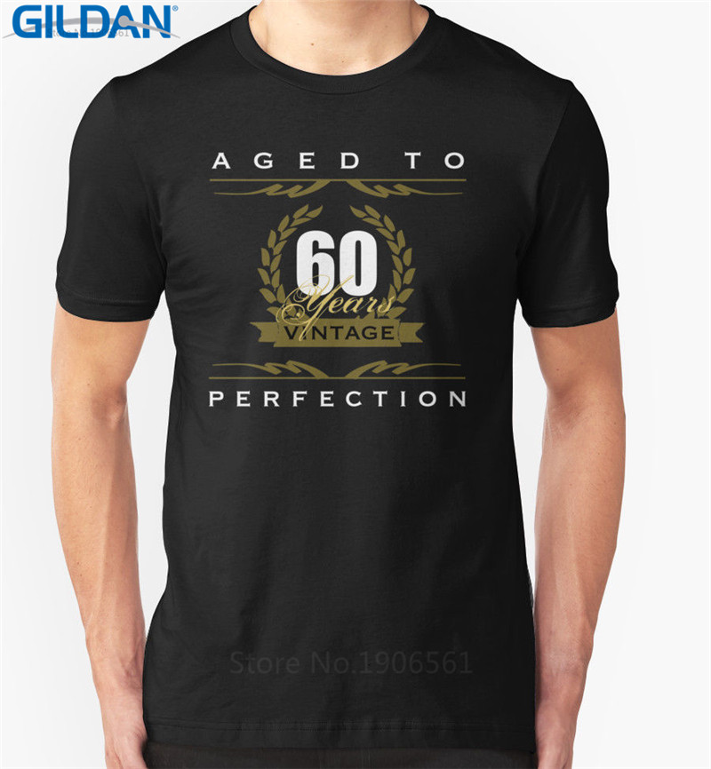 2017 New Fas hionsFunny Graphic Tees MenS Birthday Aged To Perfection Vintage 60 Years Old Short Printing Machine O-Neck T Shi