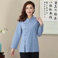 Yenilik Tasarım Düğme Bluz Çinli kadın Pamuk Keten Gömlek Gevşek Rahat tam Kollu Tang Suit Ml Xl XXL XXXL Tops 2703-1