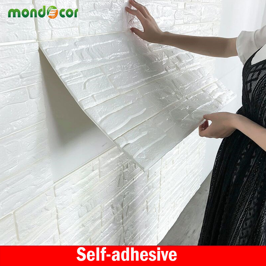 Self adhesive Anti collision TV Background Brick Wallpaper 3D Living Room Wall paper Waterproof Mural Bedroom Decorative Sticker in Wallpapers from Home Improvement
