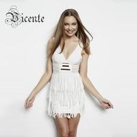 Free Shipping! Hot Sale Bandage Dress White V Neck Metalic Tassel Sexy Bodycon Dress