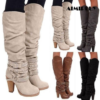 Women's Boots Round Toe Block Heel Knee Boots Ankle Strap Decorate Big Size US 4-17 Support Custom Boots