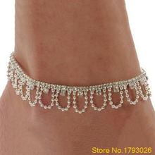 Wedding Jewelry Celeb Crystal Rhinestone Drop Ankle Chain Bracelet Charm Anklet 4TSY