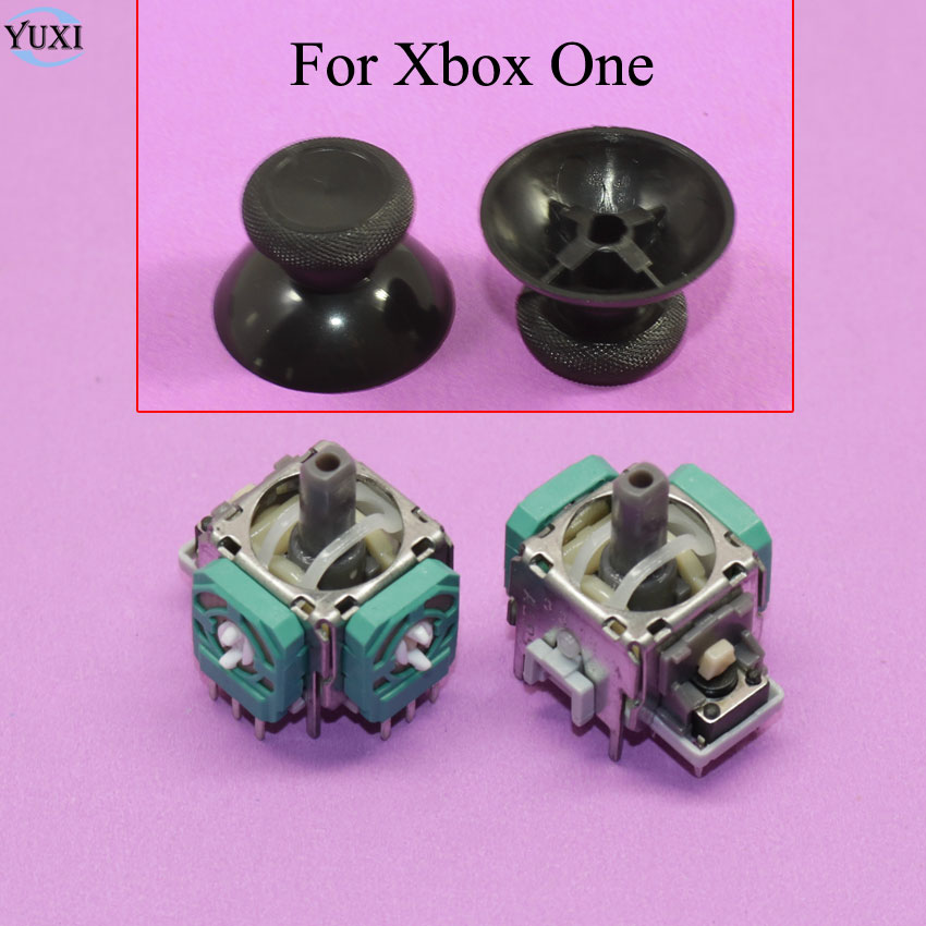 YuXi 2 Sets For Xbox One Controller 3D Analog Joysticks Replacement And Original Accessories With Grips Ticks Cap For Xboxone