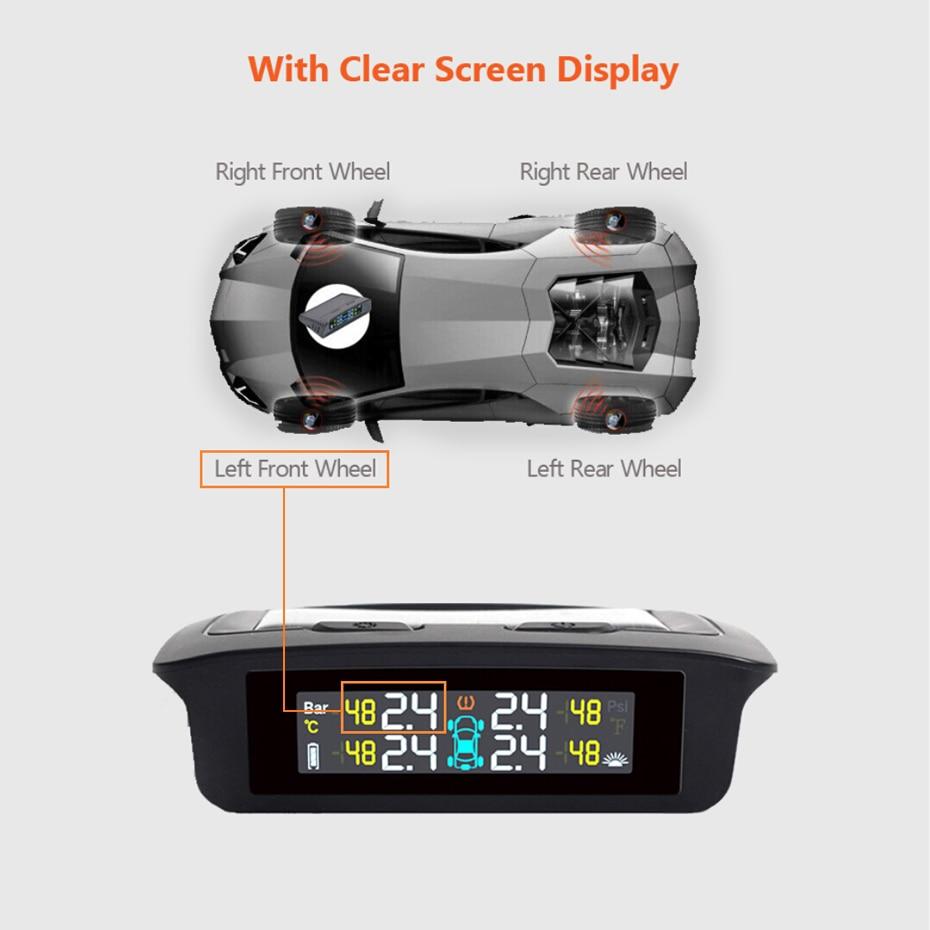 2019 最新の Tpms タイヤ空気圧警報システム 4 センサーソーラーエネルギータイヤモニター無線車のタイヤ警報 TPMS ソーラー電源  グループ上の 自動車 &バイク からの タイヤ圧 警報 の中 3