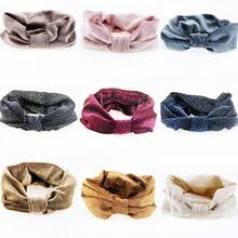Урожай Knotted Dot Hairband Корейский Эластичный Блестящий Ткань Платок Твист Повязка Оголовье