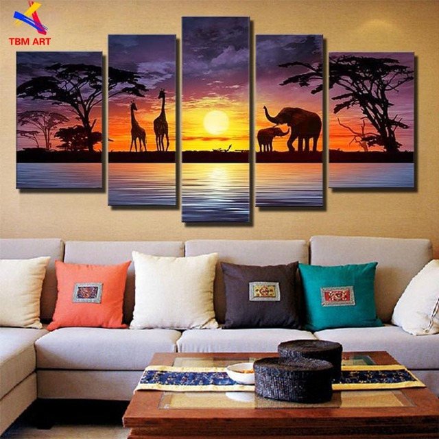 Beautiful African Landscape Picture Canvas Wall Art Hand painted Modern Abstract Oil Painting  No Framed Gift  JYJLV242