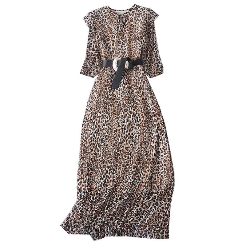 Léopard K335 Mode Femmes Élégante ligne À Leopard Imprimé Bandage Vintage Femme cou Partie Dame A Robe De O Moulante Manches Longues 1HzPw1rn7