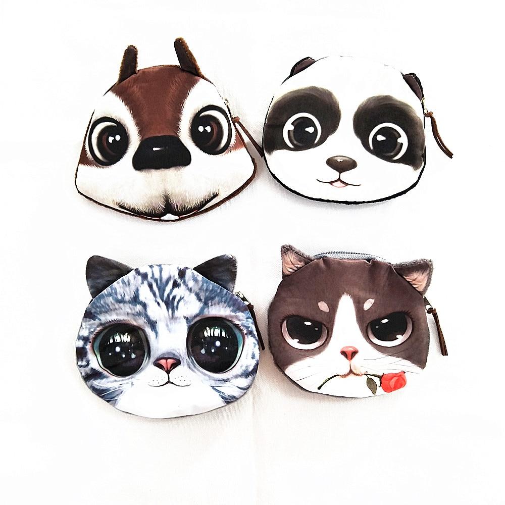 M011 Cute Meow Star Dog Buckle Plush Puppy Kitten GIRLS PURSE 3D Simulation Small Wallet Women Girl Student Gift Wholesale