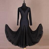 New Black Ballroom Dance Dresses Female Art Exam Dancing Dress Waist Gauze Evening Party Waltz Dress Ballroom Dance Dress VDB537