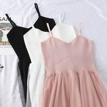 Женское длинное стрейчевое платье жилет кружевное из тюля на