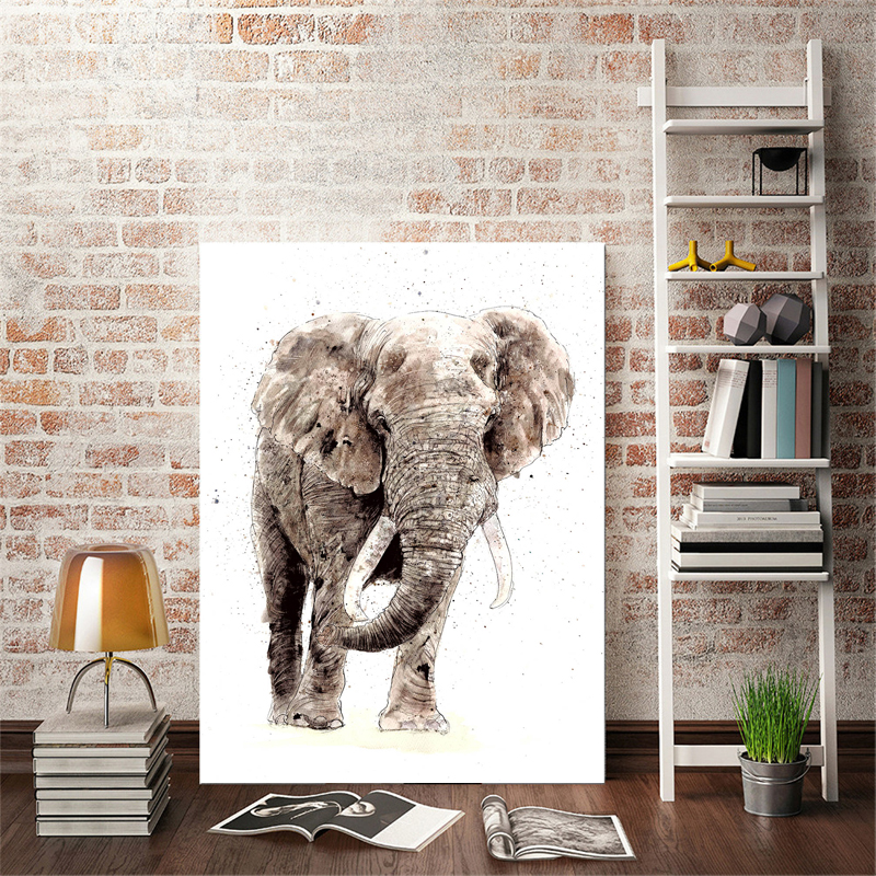 US $3.36 23% OFF|Modern Abstract Handmade Elephant Posters Digital Print on  Canvas Wall Art Decorative Pictures for Living Room Decor No Frame-in ...
