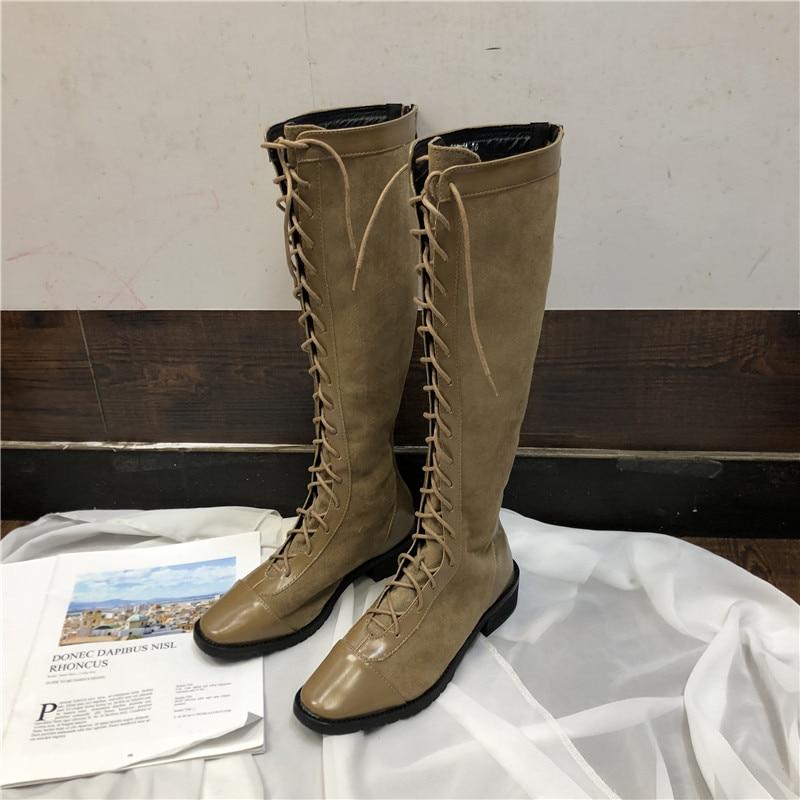 Knee Suede Tie Cross Boots Retro Woman Strap High Rider 0wvm8nON