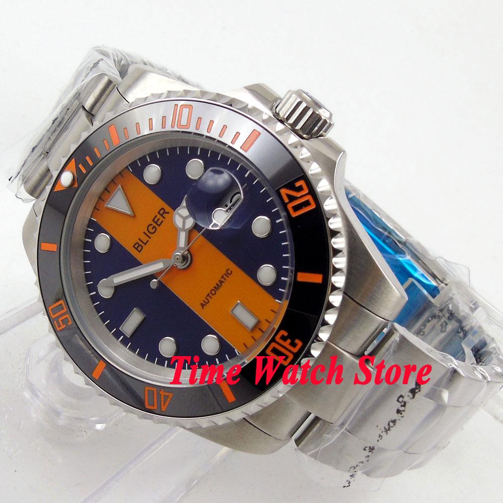 40mm blue orange dial date luminous saphire glass Ceramic Bezel Automatic movement Men's watch BL119 цена и фото