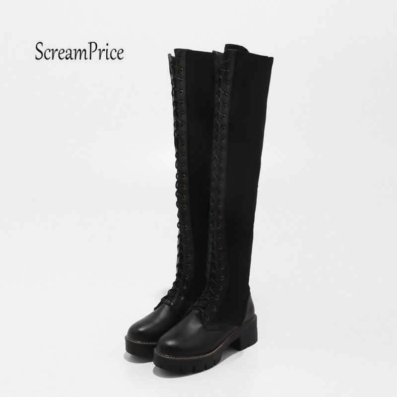แฟชั่นสีดำ Lave Up แพลตฟอร์มหนาส้นสูงเข่าสูงรองเท้าขี่รองเท้าผู้หญิงฤดูหนาว