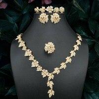 ModemAngel Delicate Flowers Leaf Cubic Zirconia Copper Wedding Necklace Bangle Ring Earring For Women Dubai Gold Jewelry Set