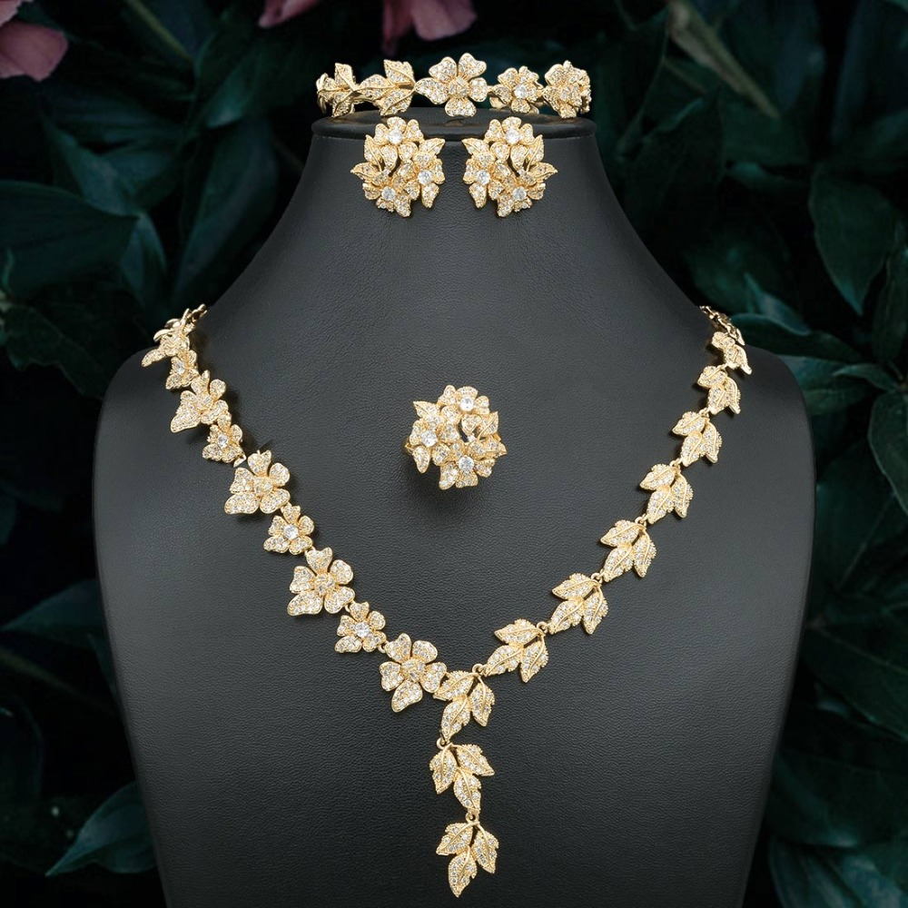 ModemAngel délicat fleurs feuille cubique zircone cuivre collier de mariage bracelet anneau boucle d'oreille pour les femmes Dubai or bijoux ensemble