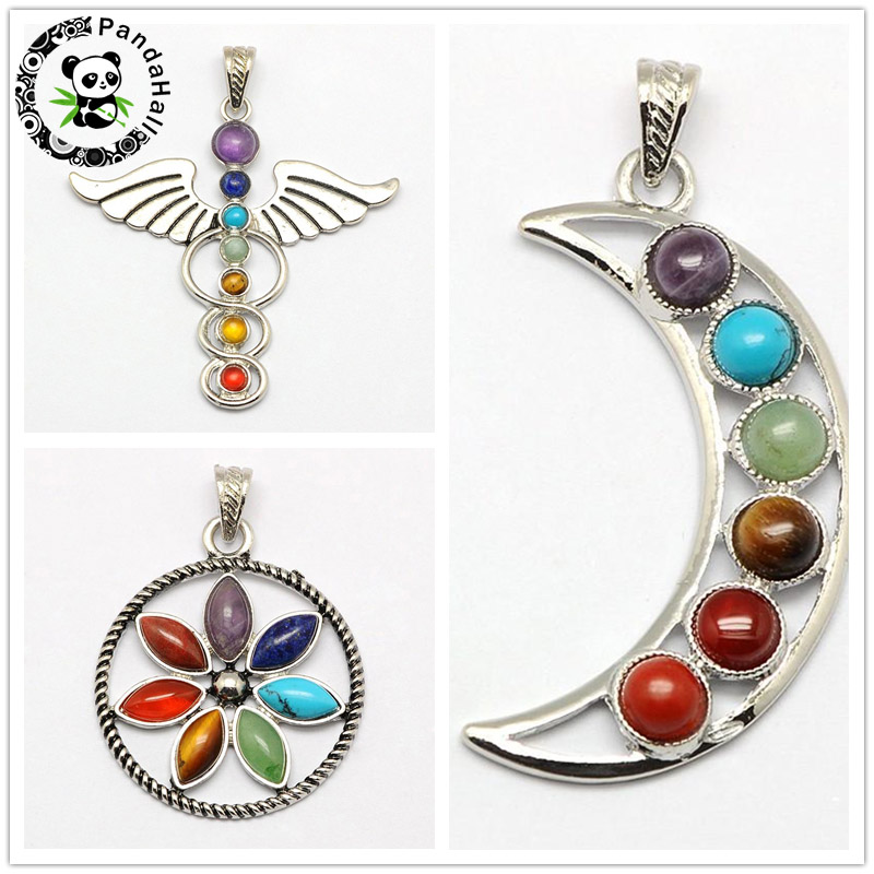 Alloy Natural Stone Pendant Necklace For Women Fine Jewelry Moon Flower Symbol for Medicine