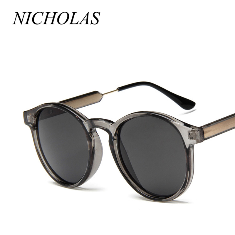 NICHOLAS Retro Round Sunglasses Women Brand Design Transparent Female Sun glasses Men