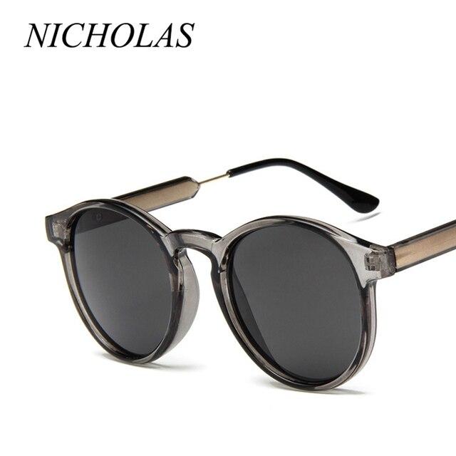 d8aca177d0c08e NICOLAS Rétro Ronde lunettes de Soleil Femmes Hommes Marque Design  Transparent Femelle lunettes de Soleil Hommes