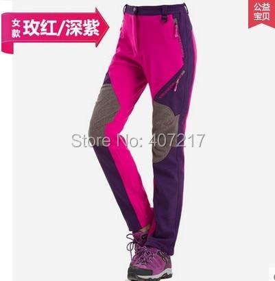 Womens mens softshell fleece pants childrens waterproof slim mountaineering pants spring autumn winter outdoor sports trousers