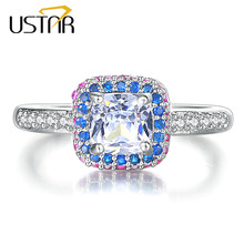 USTAR Square AAA Zircon wedding Rings for women Multicolor Crystals silver color engagement rings female fashion Jewelry Anel
