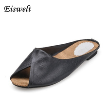 Summer  Solid Soft Leather Fish Head Female Slippers Flat  Soft Bottom Comfort Leisure Women Slipper Lazy People Slides#SJL148