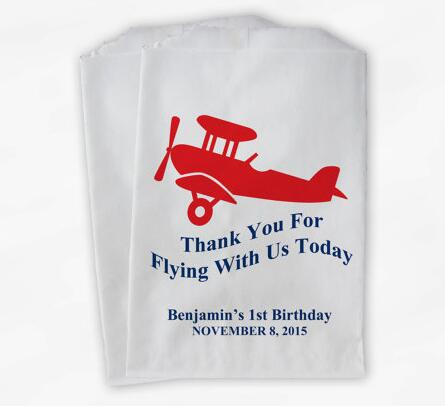 Personalized Airplane Birthday candy Buffet treat gift bar bags Baby Shower Bakery Cookie Favorpackets image