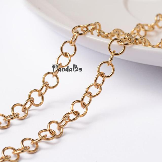 304 Stainless Steel Cross Chains, Golden, 5x0.8mm; about 20m/roll