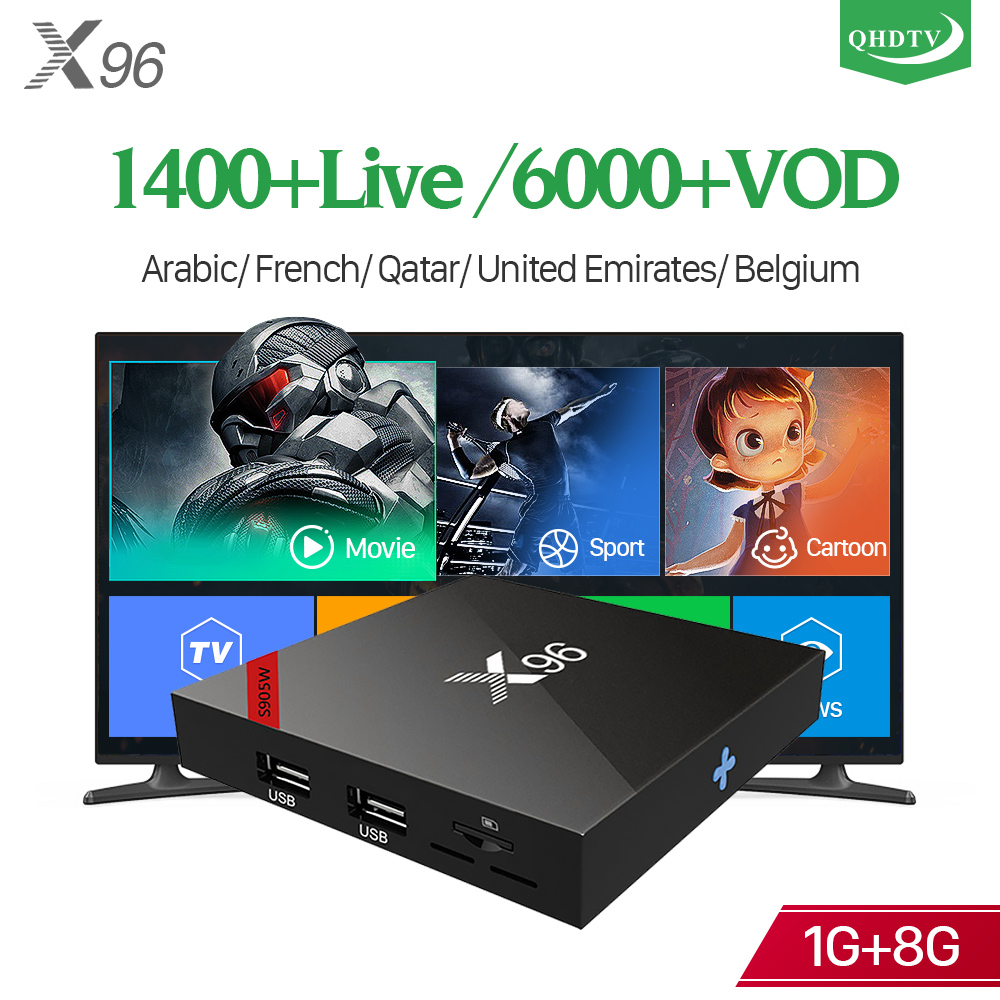 QHDTV 1 an France arabe X96W IP TV Box Android 7.1 S905W H.265 décodeur WIFI IPTV abonnement IPTV pays-bas IP TV Box