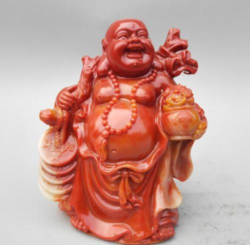Home Furnishing Decoration Chinese Shoushan Stone Carving Wealth Maitreya Buddha Happy Buddha Laughing Buddha Statue