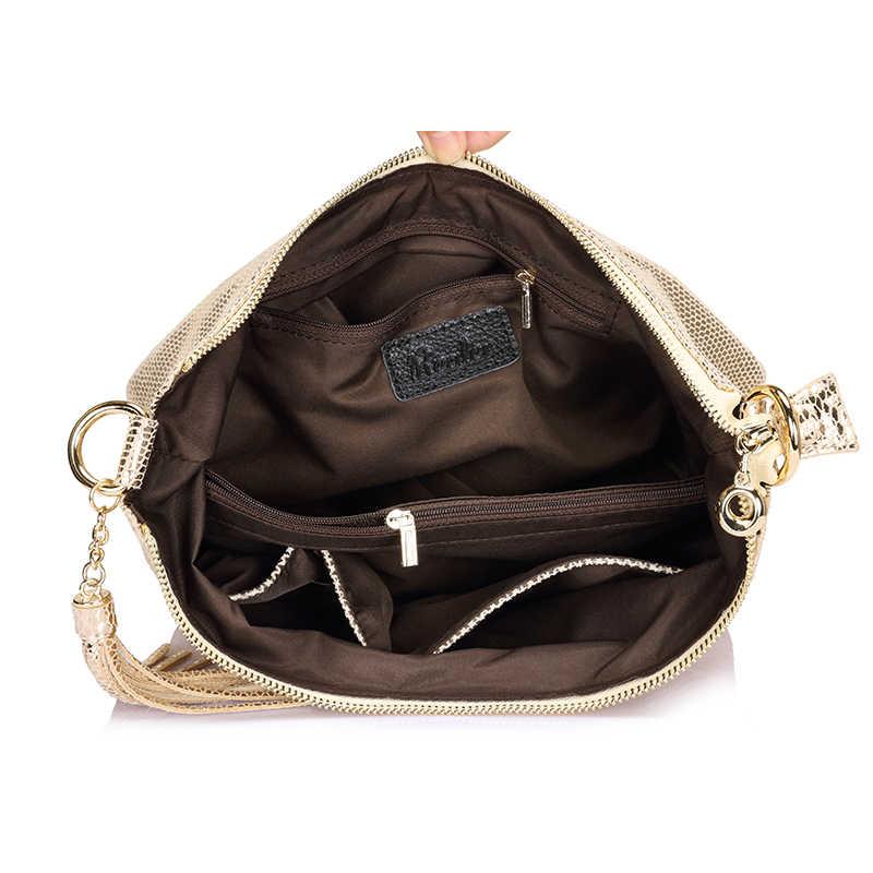 Realer Hobos Женщины Натуральная кожа сумка Змеиный узор маленькую сумочку Повседневная сумка леди Кроссбоди мешок золото/серебро