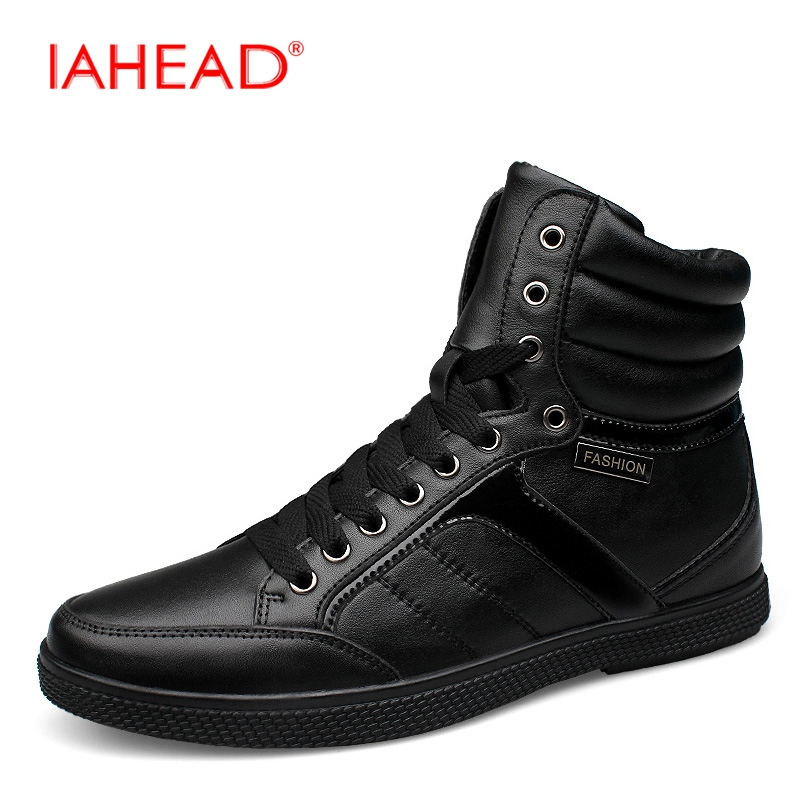 IAHEAD Men Boots Genuine Leather High Top Casual Shoes Warm Soft Men Winter Boots Plus Size 37-48 Lace-Up Tactical Boots MU529 iahead men boots genuine leather flats new casual shoes lace up warm winter boots men plus size 38 48 rain shoes men mh586