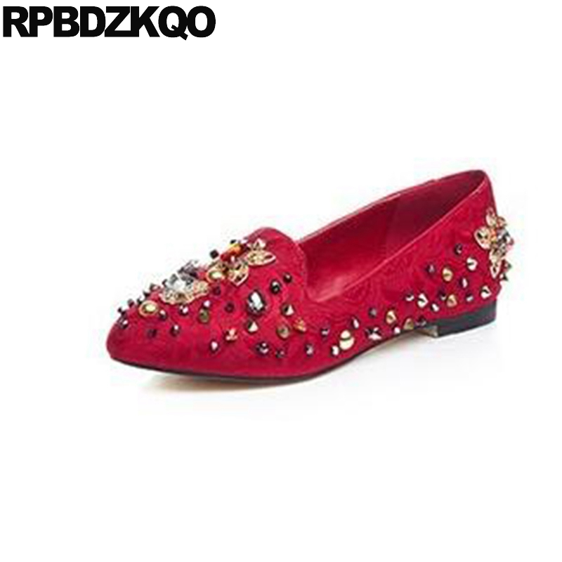 Pointed Toe Diamond Stud Beautiful Embroidery Crystal Women Chinese Wedding Shoes Flats Rhinestone Red Flower Metal Spring vintage embroidery women flats chinese floral canvas embroidered shoes national old beijing cloth single dance soft flats