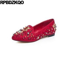 Pointed Toe Diamond Stud Beautiful Embroidery Crystal Women Chinese Wedding Shoes Flats Rhinestone Red Flower Metal