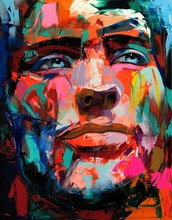 Top Artist Hand Painted Francoise Nielly Reproduction face Oil Painting On Canvas Modern Abstract People Face Unique