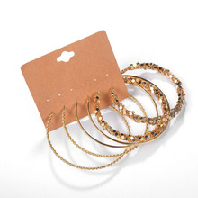 LUXSHINE Pack of 3 diameter 6 cm hoops earrings set for wome