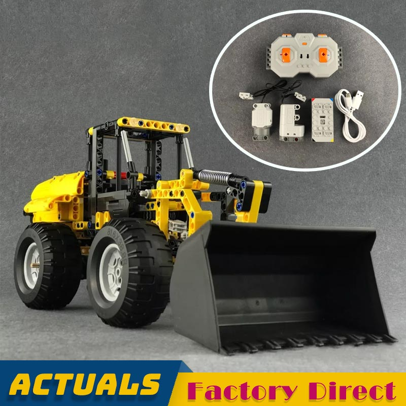Remote controlled Wheel Loader Bulldozer Technic Building Block Engineering Vehicle Bricks Kids Educational Toy Gift Compatible